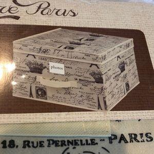 Large storage box - Vintage Paris script print